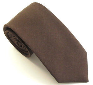 Brown Plain Wool Tie by Van Buck