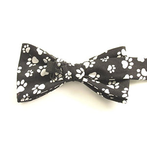 Black & White Paw Prints Cotton Pre-Tied Bow by Van Buck