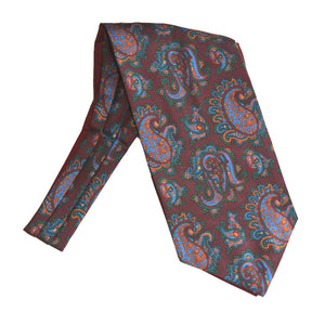 Wine Large Classic Paisley Fancy Silk Cravat by Van Buck