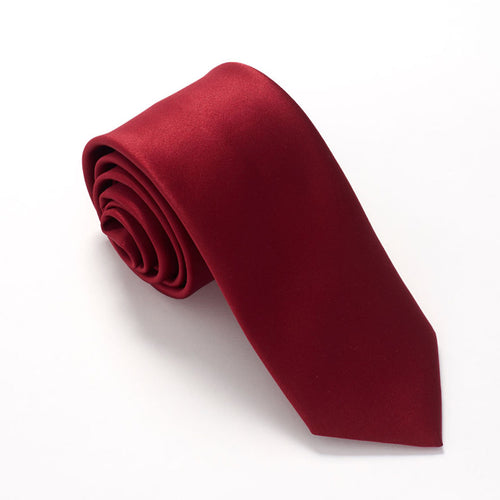 Cherry Red Satin Wedding Tie by Van Buck