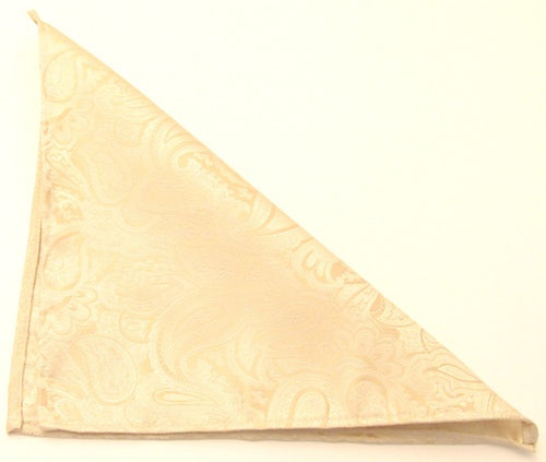 Paisley Cream Silk Wedding Pocket Square by Van Buck