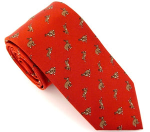 Red Hare Country Silk Tie by Van Buck