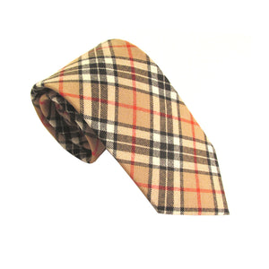 Camel Thompson Tartan Wool Tie by Van Buck