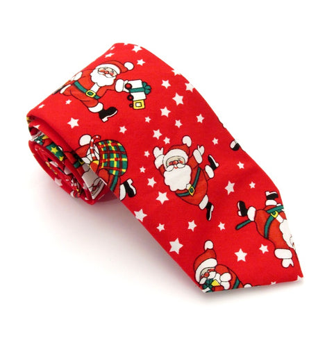 Red Dancing Santa Christmas Cotton Tie by Van Buck