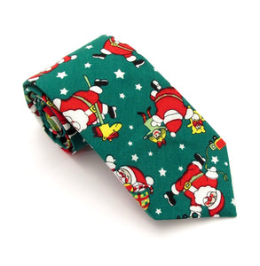 Green Dancing Santa Cotton Christmas Tie by Van Buck