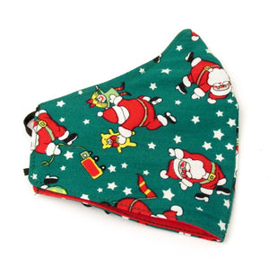 Green Dancing Father Christmas Cotton Face Covering / Mask