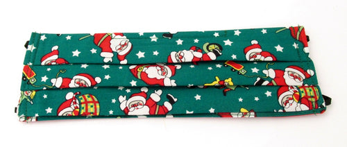 Green Dancing Father Christmas Cotton Pleated Face Covering / Mask