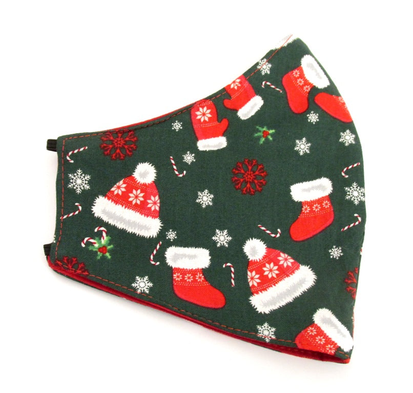 Green Christmas Celebration Cotton Face Covering / Mask