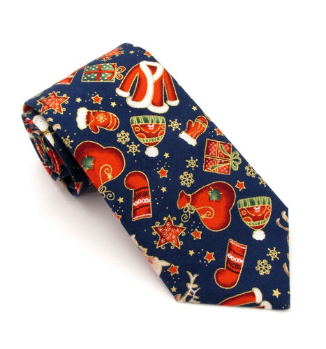 Navy Festive Christmas Cotton Tie by Van Buck