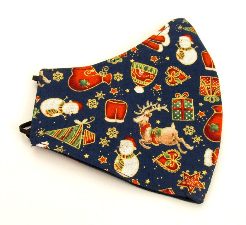Navy Blue Christmas Face Covering / Mask
