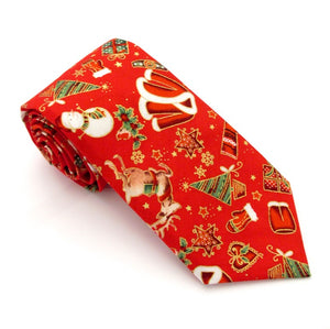 Red Festive Cotton Christmas Tie by Van Buck