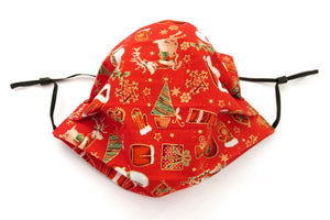 Red Christmas Pleated Face Covering / Mask