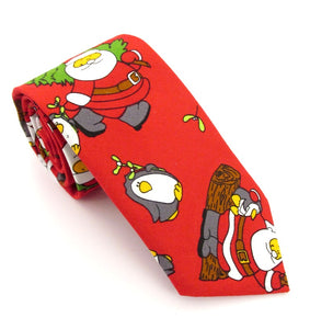 Red Santa Cotton Christmas Tie by Van Buck