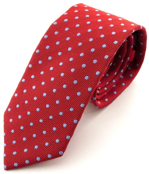 Red Silk Tie With Sky Blue Polka Dots
