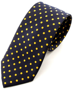 Navy Blue Silk Tie with Gold Polka Dots by Van Buck