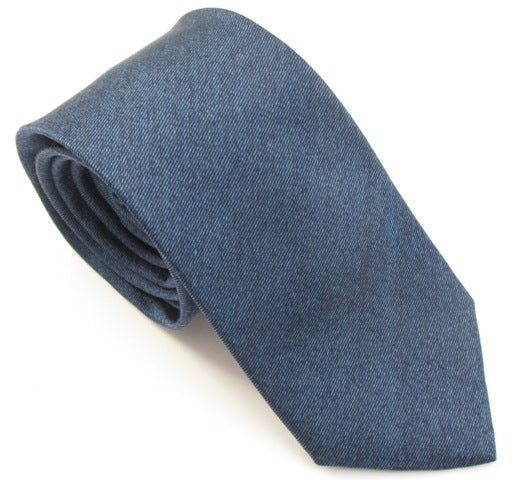 Denim Blue Soho Plain Silk Tie by Van Buck