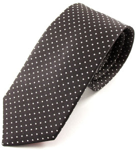 Black Silk Tie With White Pin Dots