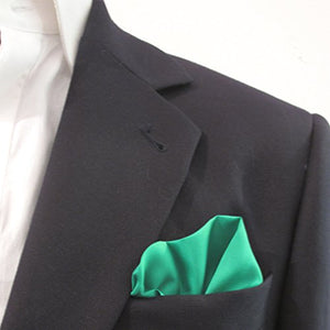 Emerald Green Plain Silk Pocket Square by Van Buck