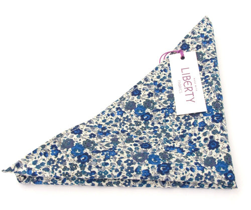 Emma & Georgina Blue Cotton Pocket Square Made with Liberty Fabric