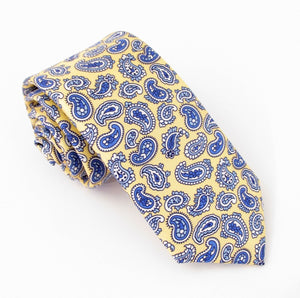Lemon Paisley Printed English Silk Tie by Van Buck
