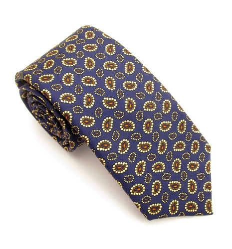 Navy Gold Teardrop Printed English Silk Tie by Van Buck
