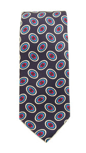 Navy Oval Printed English Silk Tie by Van Buck
