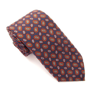 Navy Red Teardrop Printed English Silk Tie by Van Buck