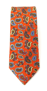 Red Paisley Printed English Silk Tie by Van Buck