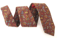 Burgundy Paisley Printed English Silk Tie by Van Buck