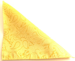 Gold Paisley Silk Wedding Pocket Square by Van Buck