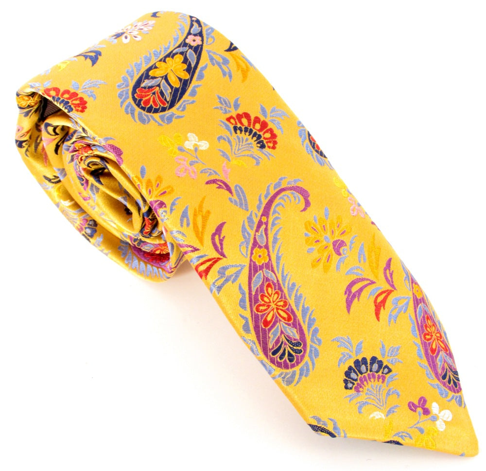 Limited Edition Gold Feathered Paisley Silk Tie by Van Buck