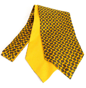 Gold with Small Neat Paisley Fancy Silk Cravat by Van Buck