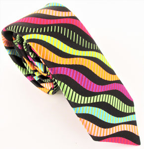 Van Buck Limited Edition Exclusive Bright Multicoloured Stripe Silk Tie