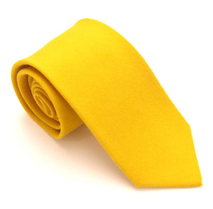 Gold Plain Wool Tie by Van Buck