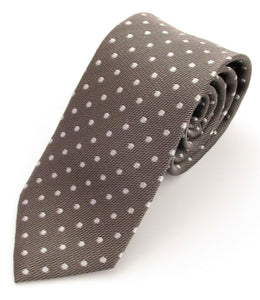 Grey Silk Tie with White Polka Dots by Van Buck