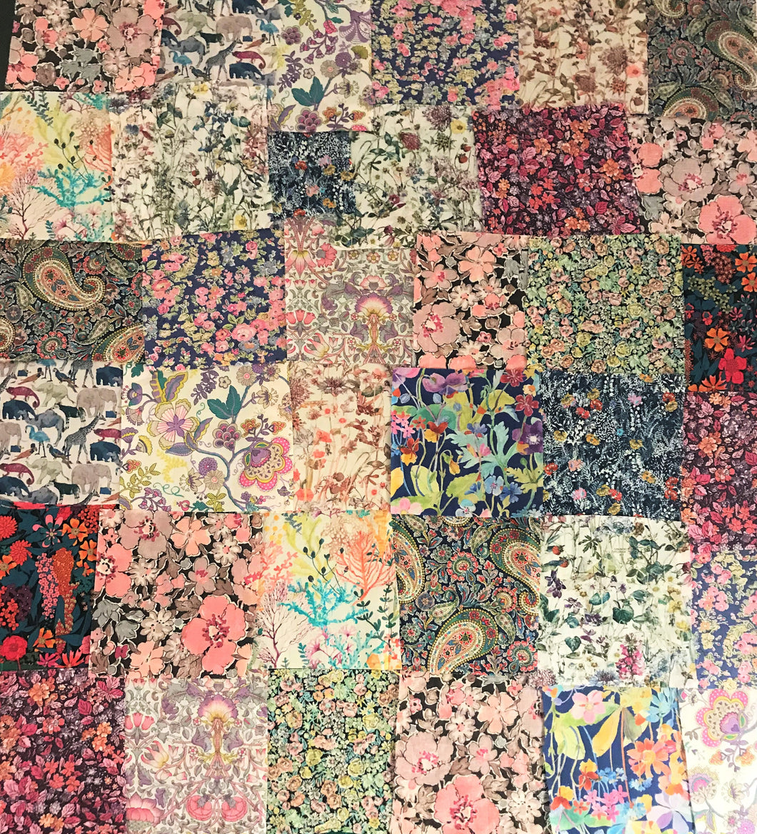 Bag of 36 Pink Assorted Patchwork Liberty Fabric Pieces