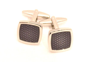 Navy Square Novelty Cufflinks by Van Buck