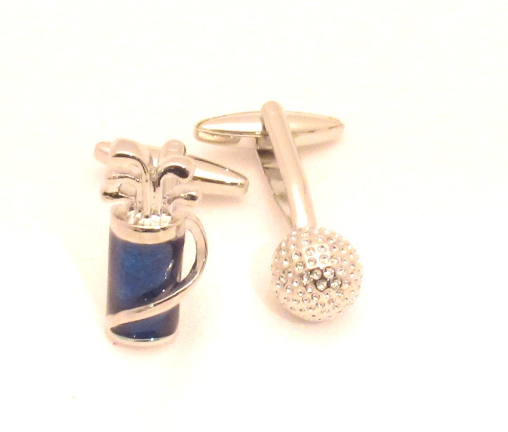 Golf Bag & Ball Novelty Cufflinks by Van Buck
