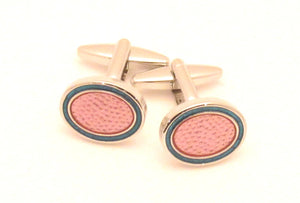 Pink Oval Novelty Cufflinks by Van Buck