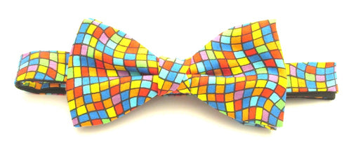 Multicoloured Square Mosaic Pre-Tied Bow by Van Buck