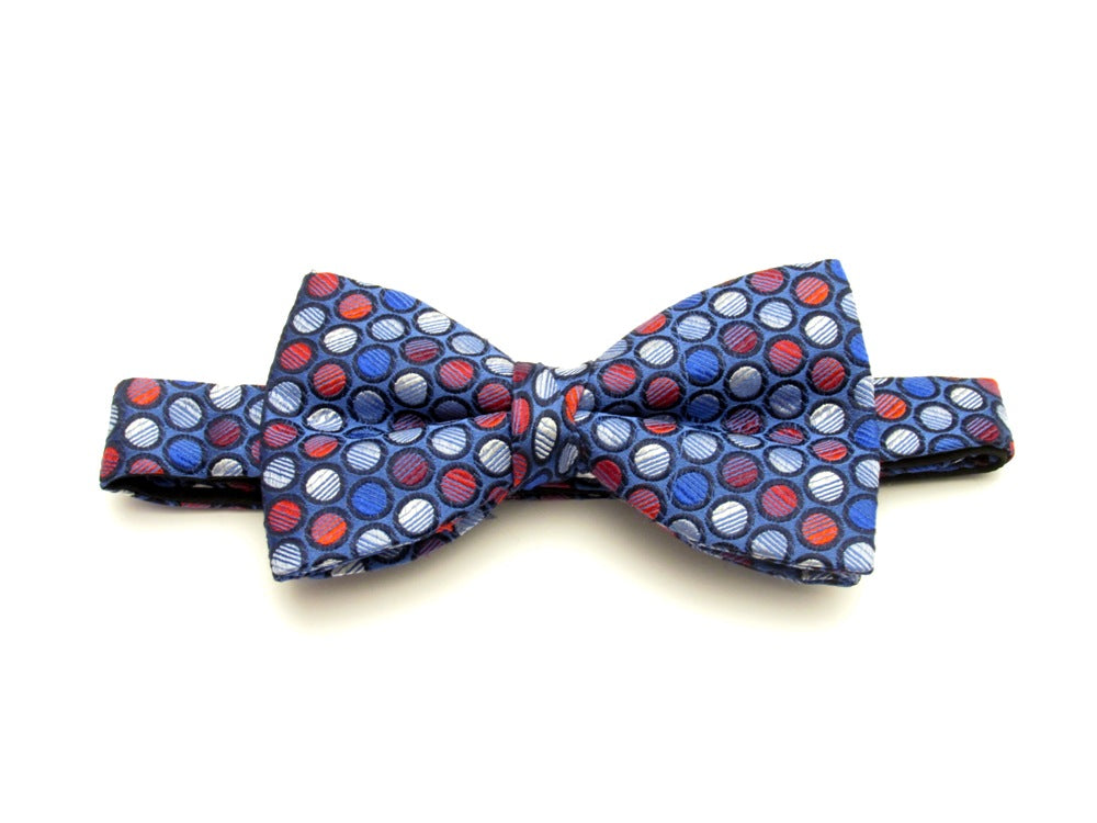 Blue with Red Circles Silk Bow Tie by Van Buck