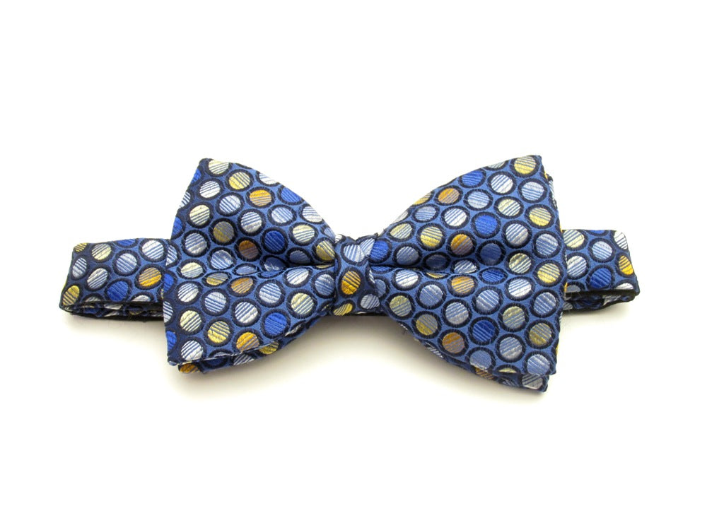 Gold Circles Blue Silk Bow Tie  by Van Buck