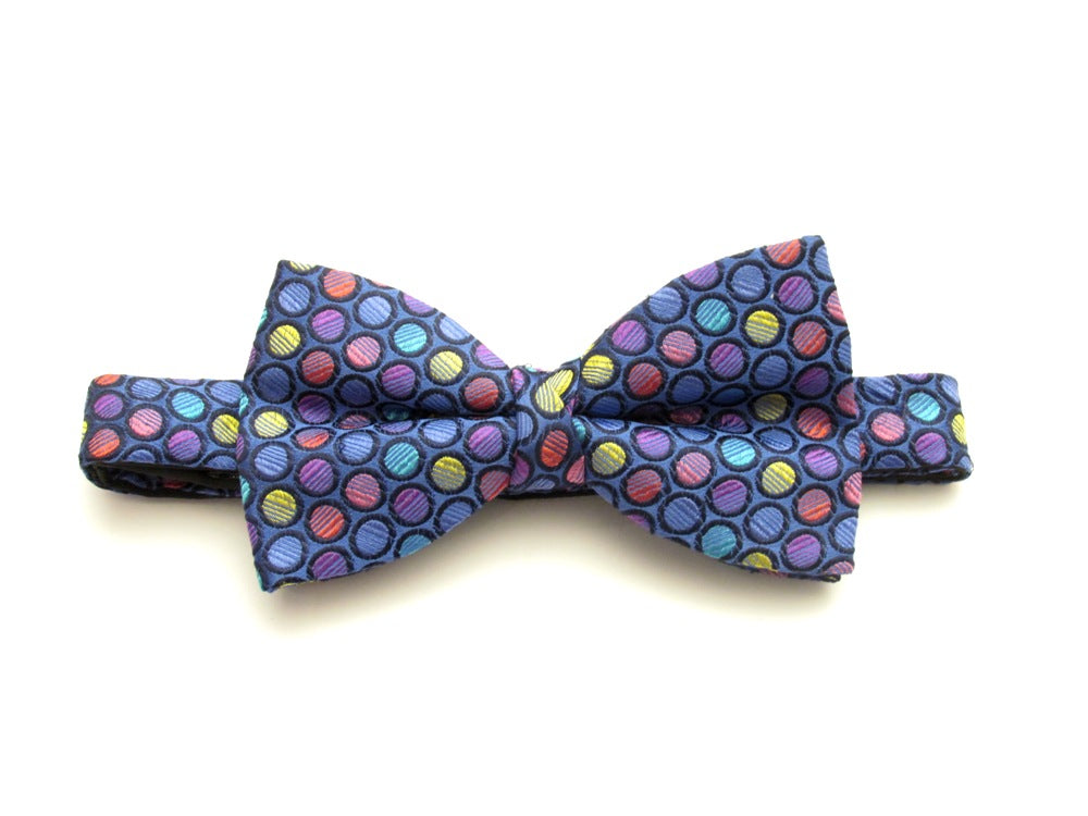 Blue with Pink Circles Pre-Tied Fancy Silk Bow by Van Buck
