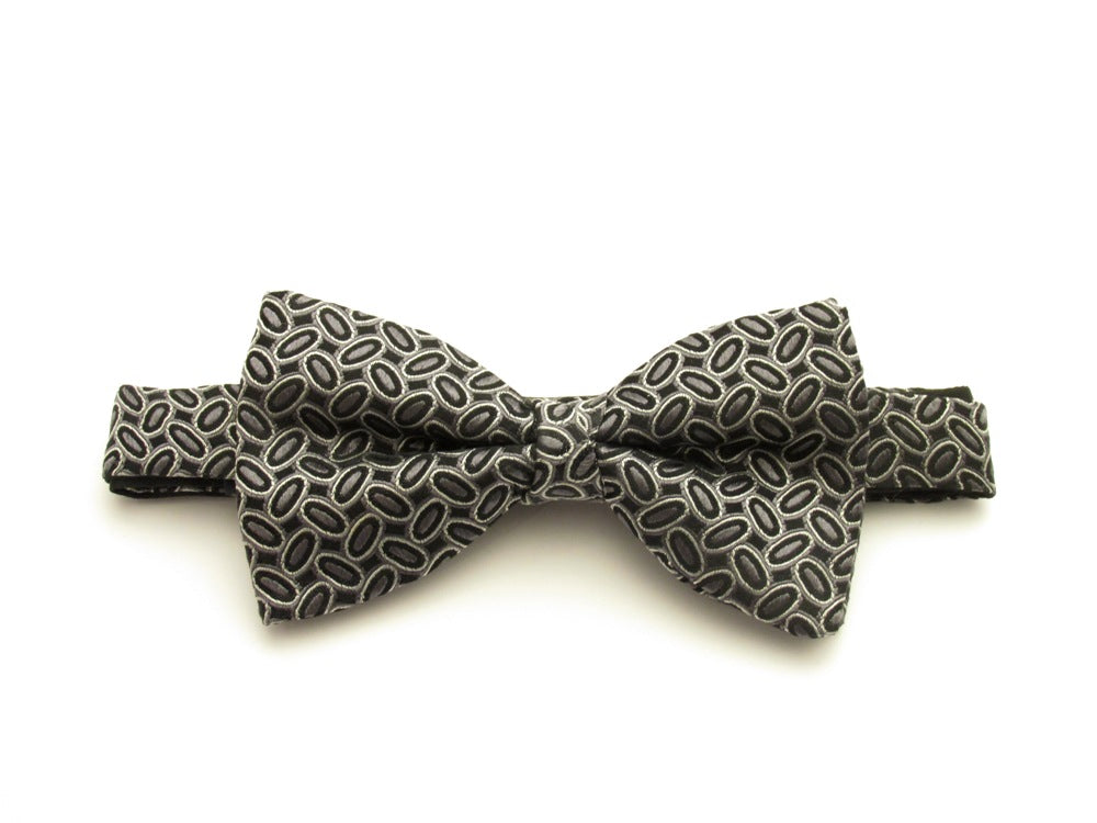 Black Oval Silk Bow Tie by Van Buck