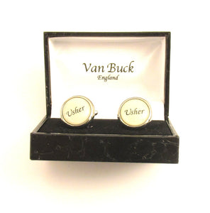 Usher Round Wedding Cufflinks by Van Buck