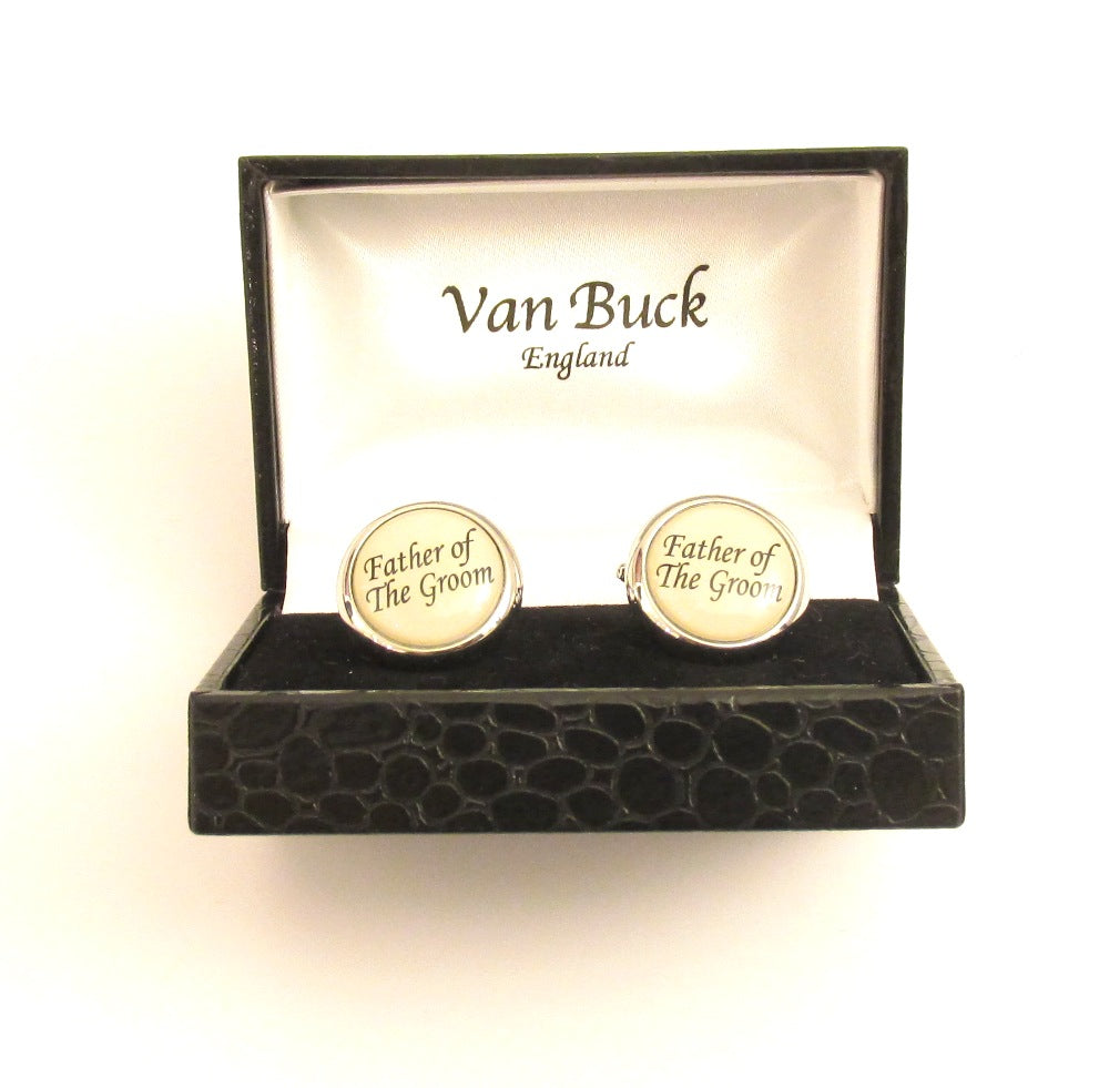 Father of the Groom Round Wedding Cufflinks by Van Buck