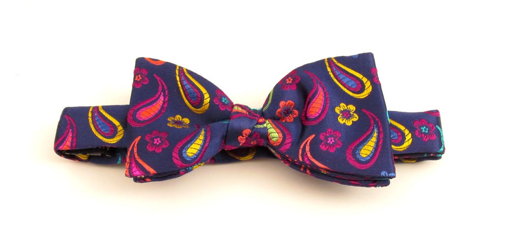 Limited Edition Navy Small Paisley Pre-Tied Silk Bow by Van Buck