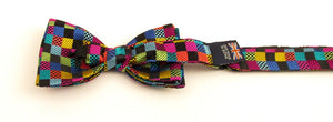 Van Buck Limited Edition Multicoloured Squares Silk Bow Tie
