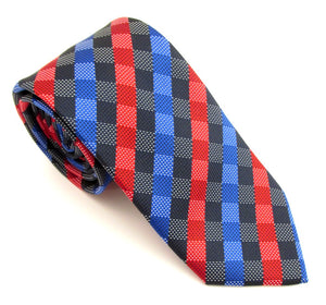 Royal Blue & Red Chequered Fancy Tie by Van Buck