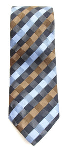 Navy Blue & Brown Chequered Fancy Tie by Van Buck